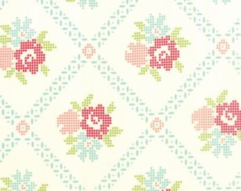 Vintage Picnic Mayberry Mum Aqua by Bonnie and Camille from Moda -1 yard