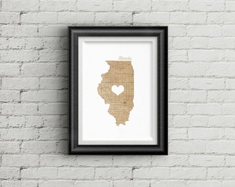"Illinois State Digital Art Print - INSTANT DOWNLOAD - Vintage Map - 8"" x 10"" and 5"" x 7"""