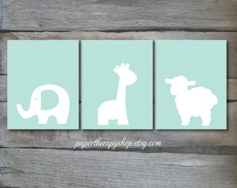 Baby Animals Nursery Print Set of 3 8x10 or 11x14s