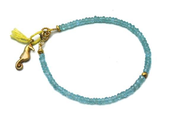 Beaded Tassel Bracelet. Apatite Bracelet. Sea Horse Charm Bracelet. Beach Bracelet. Sterling Silver or 14k Gold Filled.