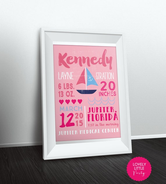 "Nautical Sailboat Theme Nursery Print Customized - 8""x10"" - LOVELY LITTLE PARTY"