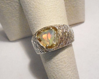 Ethiopian Welo Opal Sterling Silver Ring Size 7.75 WAS 80.00 On SALE 70.00