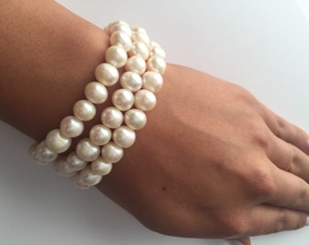 The Cassiopeia Three Strand Pearl Bracelet, 3 Strand Pearl Bracelet, Bridal Bracelet, Pearl Bracelet, Freshwater Pearls, Vintage bling