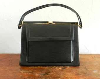 50's CLASSIC BLACK HANDBAG - Classy / Sexy / Mid Century /Jackie O / Mad Men Style / Excellent Condition