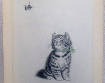 "Vintage Kitten cat with bee Etched print signed Meta Pluckebaum (1876-1945) German framed 12""x 10"""