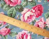 Vintage Cottage Roses Fabric ~ Cotton ~ Beautiful Pinks on Blue ~ Beach Bungalow ~ Shabby décor