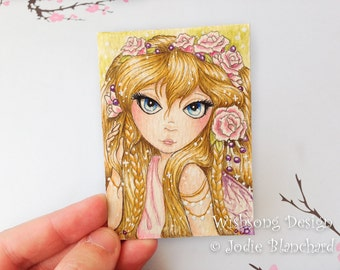 Fairy Aceo ORIGINAL painting, big eyed girl, miniature painting, trading card, collectible art card, whimsical fairy 2.5 x 3.5 inch painting