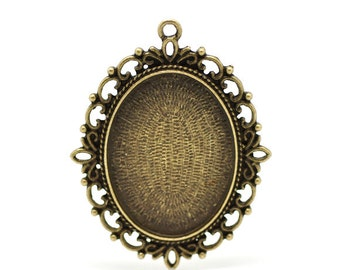 1pc Antique Bronze Cabochon Setting - Fits 40x30mm - Bronze Setting, Jewelry Finding, Jewelry Supplies, Cameo Setting, Ships from USA - S52