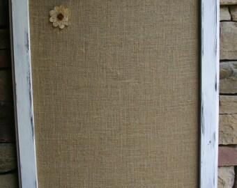 "30x22"" White distressed Style Frame Cork board"