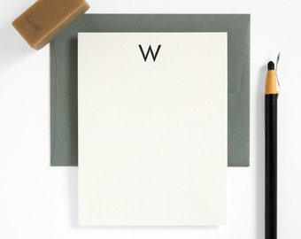 Monogram Letterpress Stationery Set - Custom Note Card Set - Modern Design - Utility