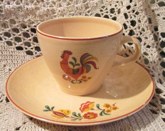Vintage Taylor Smith Taylor Yellow Rooster Cup and Saucer