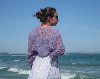 Violet Shrug Summer knit Wrap Boho inspired bolero Loose knit autumn shrug THANKSGIVING Lilac Beach cover up
