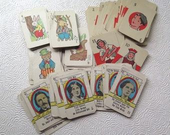 Children's Miniature Card Games Four Vintage Sets Famous Authors Animals Cards 1940s Stocking Stuffer
