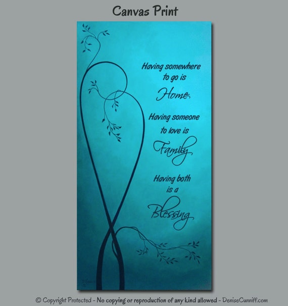 Canvas wall sayings Teal home decor Turquoise blue painting