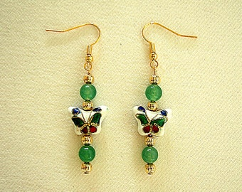 Green Butterfly Earrings Chinese Cloisonne Unique Earrings Aventurine Stone Cute Gifts for Her Cool Earrings Gifts for Girlfriend
