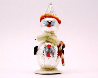 Vintage Glass Snowman Christmas Figurine  Christmas Holiday Decoration