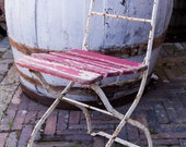 Vintage painted beer garden chair, wooden seat and back, painted metal frame. Vintage Garden, Industrial Kitchen