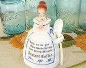 """Enesco Kitchen Prayer Lady """"Instant Coffee"""" Container Girl with Spoon in White & Blue"""