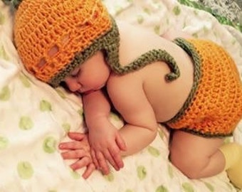 Pumpkin Beanie & Diaper Set