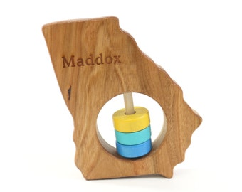 GEORGIA State Baby Rattle™ - Modern Wooden Baby Toy - Organic and Natural