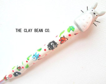 Totoro Crochet Hook-- Handmade from Polymer Clay-- Bates or Boye