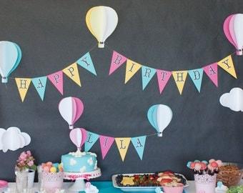 Hot Air Balloon Party Banner, Hot Air Balloon Birthday Banner, Gas Balloon Party Banner, Oh The Places You'll Go Banner