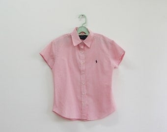 SALE / Vintage pink check print buttoned blouse, Short sleeve blouse, summer shirt