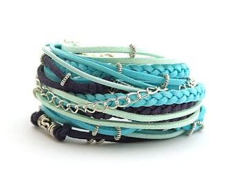 Summer Mint Turquoise Navy Boho Wrap Bracelet, Blue Turquoise Mint Bracelet, Cobalt Gypsy Bracelet, gift for her, double wrap, boho chic