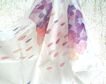 Hand Painted Silk Scarf, Rainy Clouds, Colorful clouds, Geometric clouds
