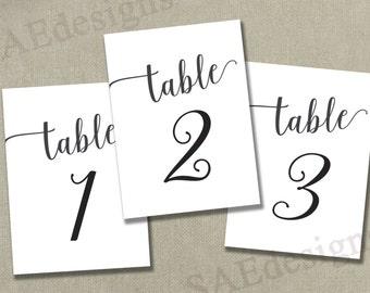 "Instant Download PRINTABLE  Table Numbers 1-40 - 4x6"" Reception Table Numbers - Black Ink - 2 per page - Digital pdf file - elegant script"