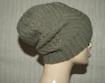 Cashmere Green Brown , Cable Hand Knit, Soft, Warm Slouchy Beanie Hat for Men or Women