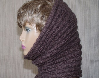 Wool Acrylic Blend Gray Brown Hand Knit Neck-warmer Cowl Scarf for Men or Women