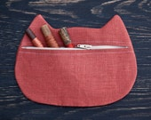 Cat Cosmetic Bag, Red Pencil Case, Bridesmaid Gift