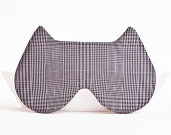 Sleep Mask, Cat Mask, travel accessories, gift for her, Checkered Vacation Accessories, Kids Eye Mask, Gray Animal Mask, Mom Gift