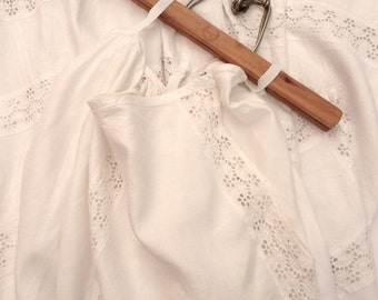 Antique White Petticoat Linen and Broderie Anglaise Lace Victorian Edwardian