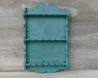 Painted Upcycled Jewelry Holder/ Spoon Rack in Turquoise
