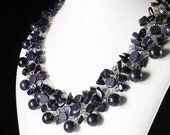 Blue Goldstone Necklace, Silver Wire Crochet, navy blue stone, crystals, original artisan statement necklace, fashion, gift for her, NL2909