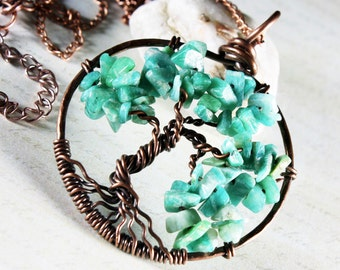 Tree of Life Necklace, Amazonite tree pendant, Copper Wire Wrapped tree of life, green gemstone talisman necklace, holiday gift for her