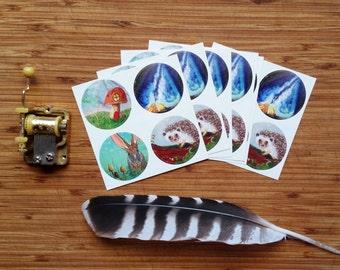 Stickers - Original Paintings - Whimsical - Woodland Art - Mushrooms - Animals - Green - Nature -Stars - Hedgehog - Unique Stickers