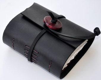 "Handmade Leather Journal 4 1/2"" x 4 1/2"" - 90 lb watercolor paper - Sketchbook"