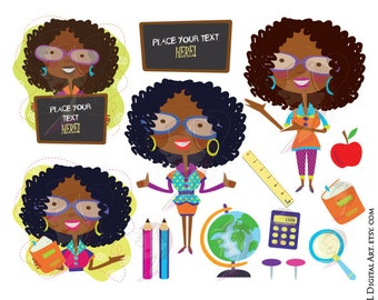 African American Clipart Black Woman Women Teacher with Glasses Classroom Theme Back To School Chalkboard Pencil Book Ruler Apple 10667