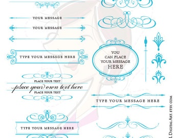Turquoise Wedding Clipart DIY Invitations Office Craft Supplies Text Dividers Flourish Digital Frames Business Card Design Elements 10671