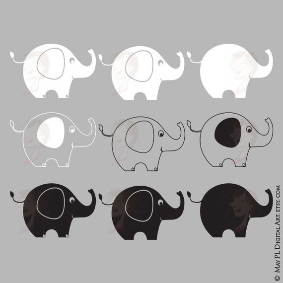 Elephant Silhouette Outlines Digital Vector Stamp Animals