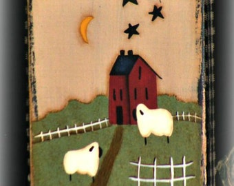 Handpainted Primitive Folk Art Wall Hanging