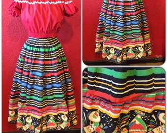 1950s Mexican Border Print Skirt Tiered Full Novelty Print Small