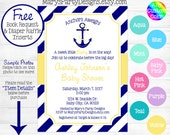 Nautical Baby Shower Invitation - Anchors Aweigh Away Yellow Hot Pink Purple Navy Ahoy Its A Girl Diaper Raffle Ticket Book Request Card