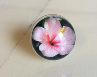 Flower Ring - Hibiscus Flower Ring - Hibiscus Ring - Flower Jewelry - Photo Ring - Pink Flower Ring - Flowers - Pink Flower - Pink Flowers