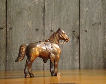 A Modest Prize - Vintage 1950s Hollow Metal Copper Washed Western Horse