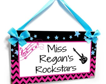 personalized teacher rock star themed classroom door sign - pink and black chevron - P692