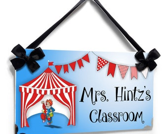 custom circus carnival teacher classroom door sign - clown in circus tend - P285